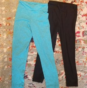 2 Pair Lularoe Leggings Black and Teal Small Kids